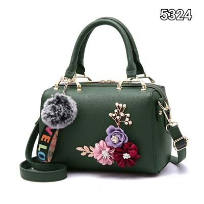5324 Cute Boston Slingbag with flower (Green)