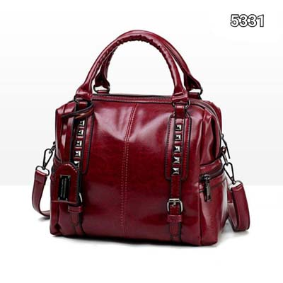 5331 Pu Leather Punk Slingbag (Maroon)