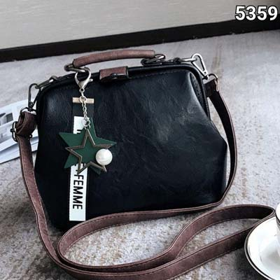 5359 Cute Slingbag With Colorful Keychain (Black)