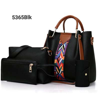 5365 4 in 1 Handbag with Colorful Strap (Black)
