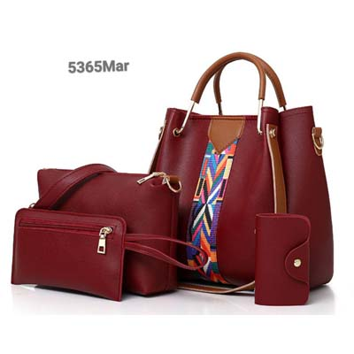 5365 4 in 1 Handbag with Colorful Strap (Maroon)