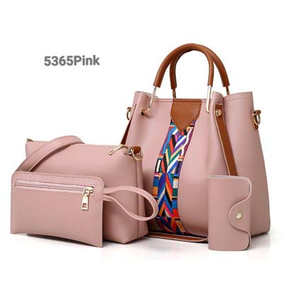 5365 4 in 1 Handbag with Colorful Strap (Pink)