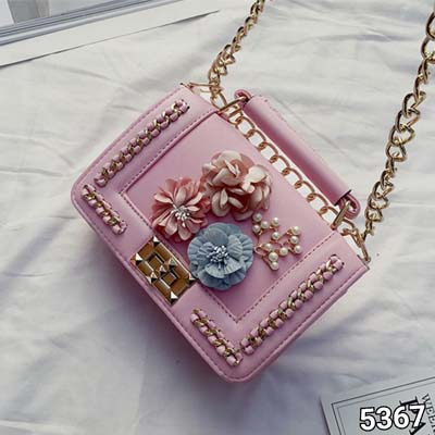 5367 Cute Slingbag with Flower Deco (Pink)