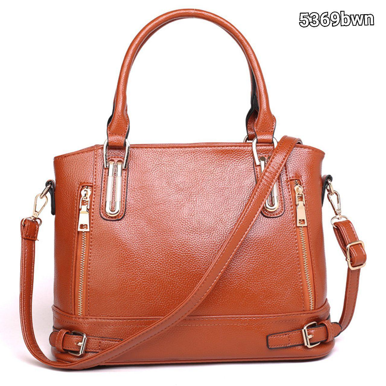 5369 Elegant PU leather Double Zip Handbag (Brown)
