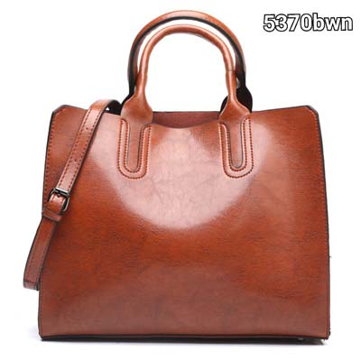5370 Simple Elegant Pu Leather Handbag (Brown)