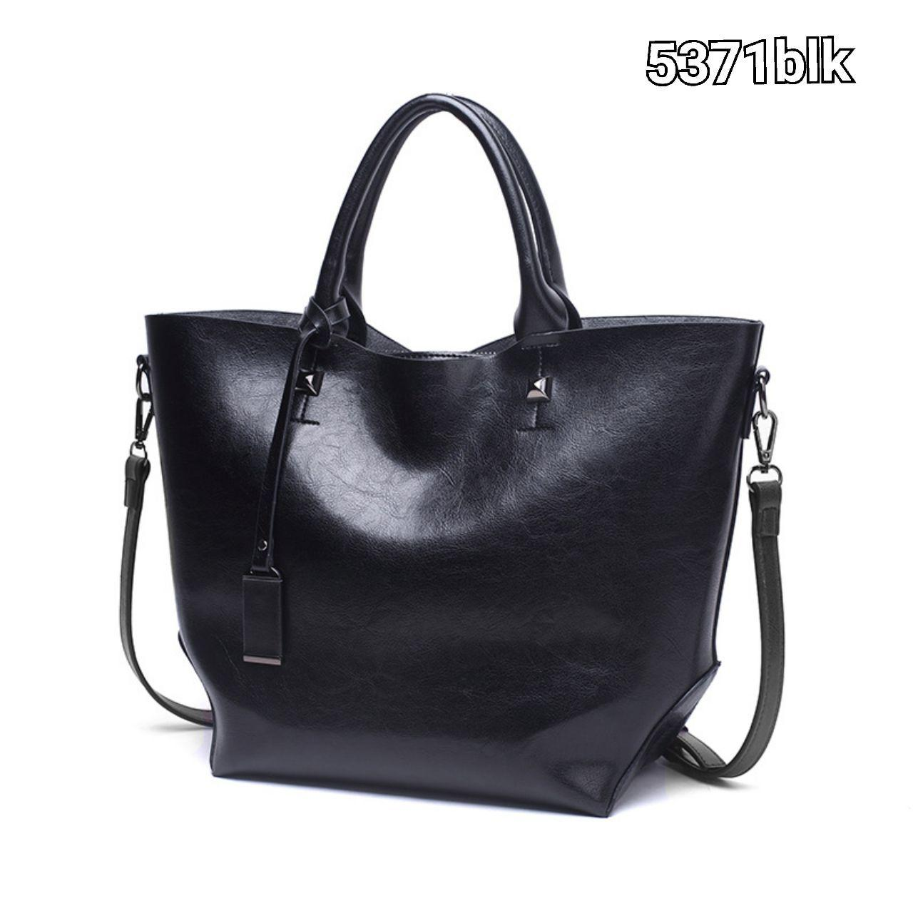 5371 Simple Elegant Pu Leather Handbag (Black)