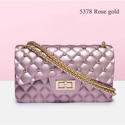 5378 Quality Jelly bag with Diamond (Rose Gold)