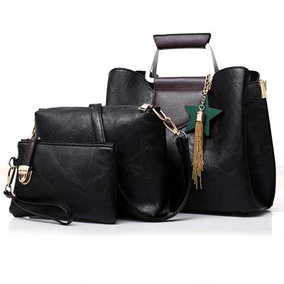 5404 Fashion 3 in 1 Handbag (Black)