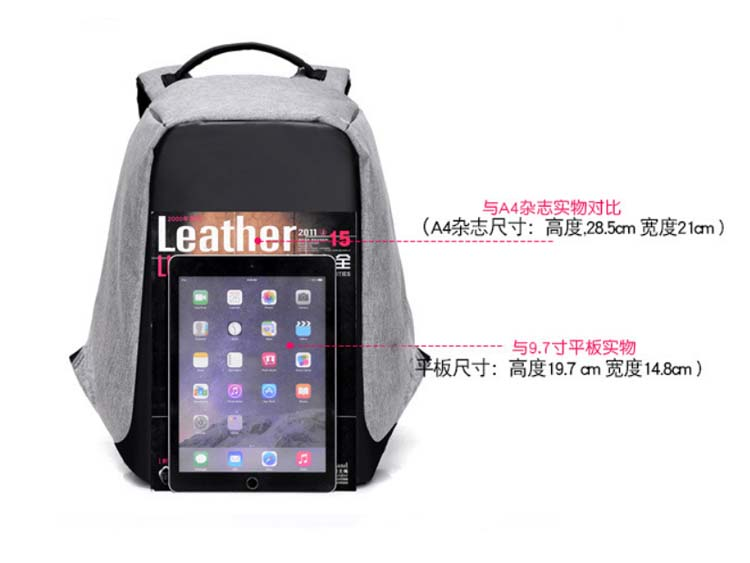 5424 Anti-Theft Backpack with Charger (Grey)