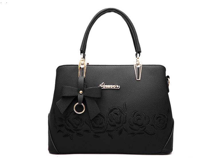 5505 Elegant Flower Print Handbag (Black)