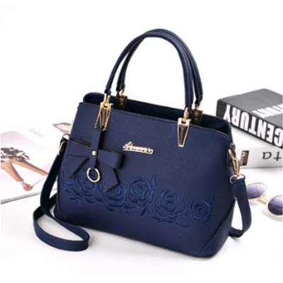 5505 Elegant Flower Print Handbag (Blue)