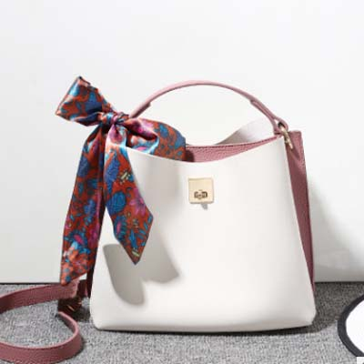 5507 Fashion Slingbag with Scarf (White)