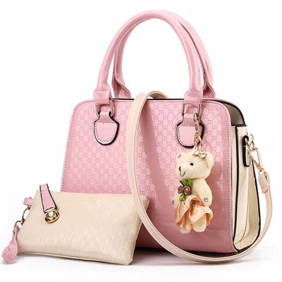5879 Fashion 2 in 1 Handbag With Bear (Pink)