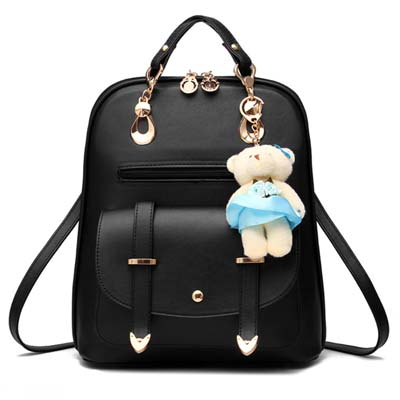 5883 Fashion Backpack With Bear (Black)