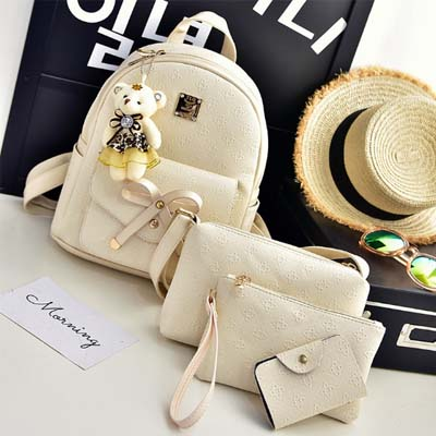 5985 Fashion 4 in 1 backpack (Beige)