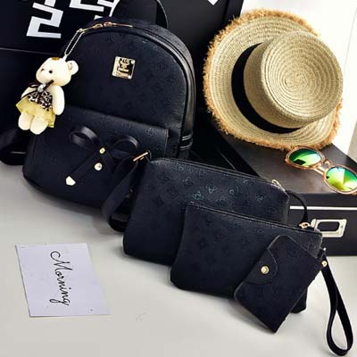 5985 Fashion 4 in 1 backpack (Black)