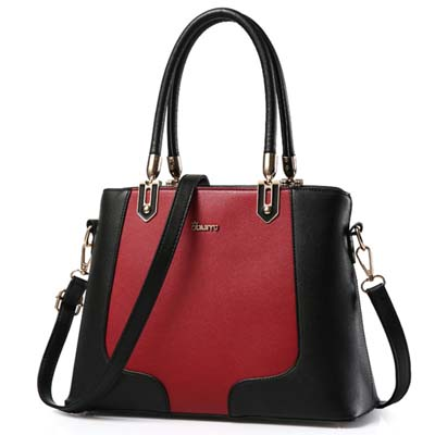 5993 Fashion Two Tone Handbag (Black)