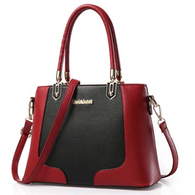 5993 Fashion Two Tone Handbag (Maroon)