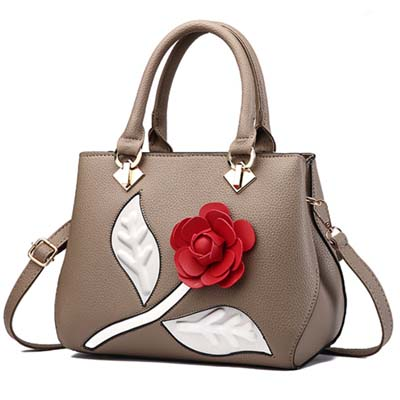 6026 Fashion Flower Handbag (Khaki)