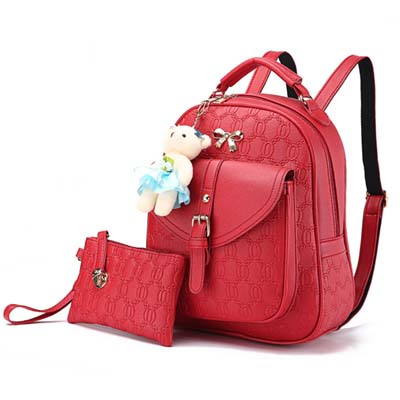 6037 Elegant 2 in 1 Backpack With Bear (Red)