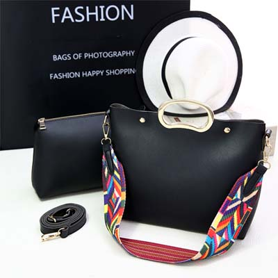 6080 Fashion 2 in 1 Bag With Colorful Strap (Black)