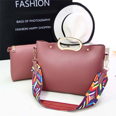 6080 Fashion 2 in 1 Bag With Colorful Strap (Dark Pink)