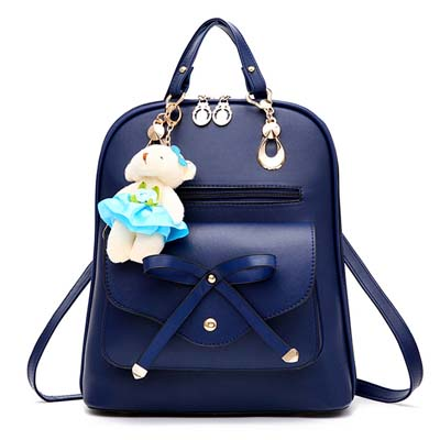 6112 Fashion Ribbon Backpack With Bear (Blue)