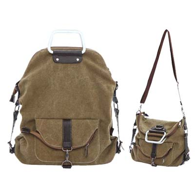 6138 YoYOo Fashion 3 Ways Canvas Backpack (Khaki)