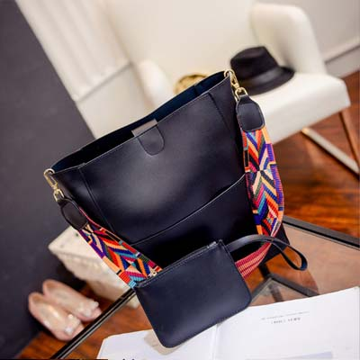 6140 Elegant 2 in 1 Handbag With Colorful Strap (Black)