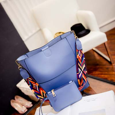 6140 Elegant 2 in 1 Handbag With Colorful Strap (Blue)