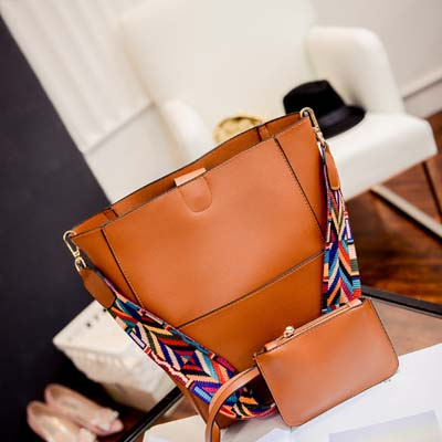 6140 Elegant 2 in 1 Handbag With Colorful Strap (Brown)