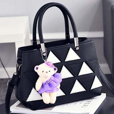 6143 Fashion Double Layer Handbag With Bear (Black)