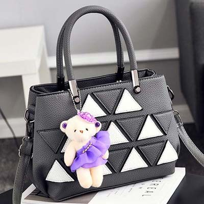 6143 Fashion Double Layer Handbag With Bear (Grey)