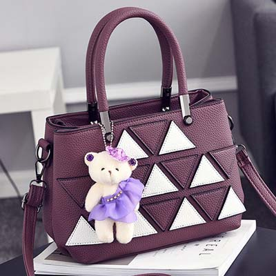 6143 Fashion Double Layer Handbag With Bear (Purple)