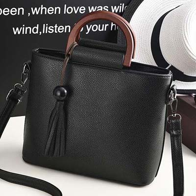 6146 Fashion Trendy Ladies Handbag (Black)