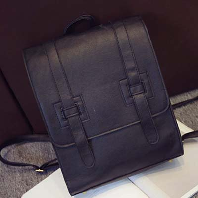 6163 Fashion Simple Backpack (Black)