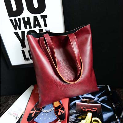 6246 Retro Tote Shoulder Bag (Maroon)