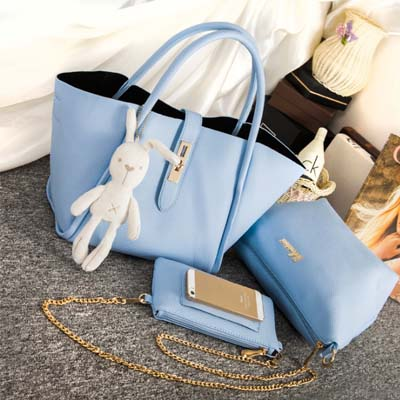 6266 Fashion 3 in 1 Bag With Rabbit and Gold Chain (Blue)