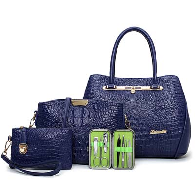 6290 4 in 1 Crocodile Skin Design Bag (Blue)