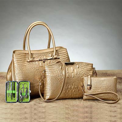 6290 4 in 1 Crocodile Skin Design Bag (Gold)