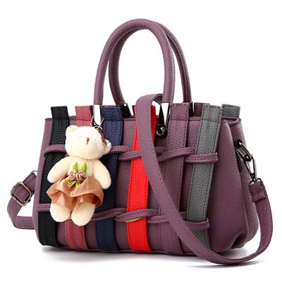 6296 Fashion Double Layer Handbag With Bear (Purple)