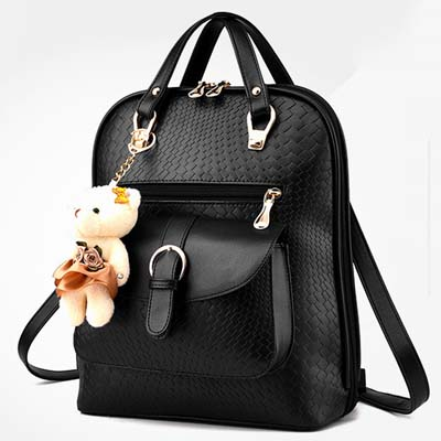 6298 Fashion Multipurpose Backpack With Bear (Black)