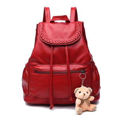 6299 Fashion Backpack With Bear (Red)