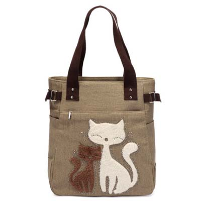 6312 Meow Canvas Handbag (Khaki)