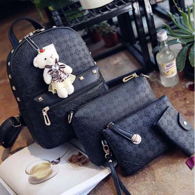 6354 Fashion 4 in 1 Backpack With Bear (Black)