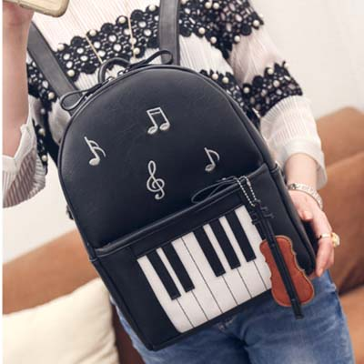6366 Fashion Piano Backpack (Black)