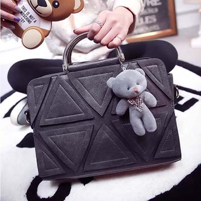 6452 Puzzle Design Handbag With Bear (Grey)