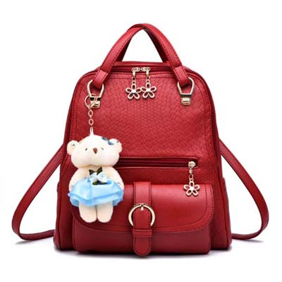 6459 Elegant Backpack With Bear (Maroon)