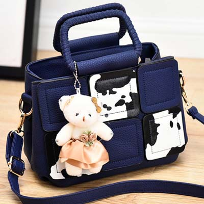 6490 Cute Handbag With Bear (Blue)