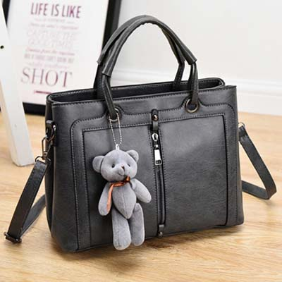 6492 Elegant Double layer Handbag With Bear (Grey)
